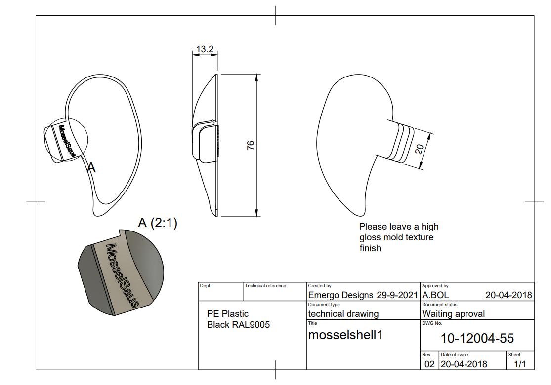2d tekening voor mosselschelp product